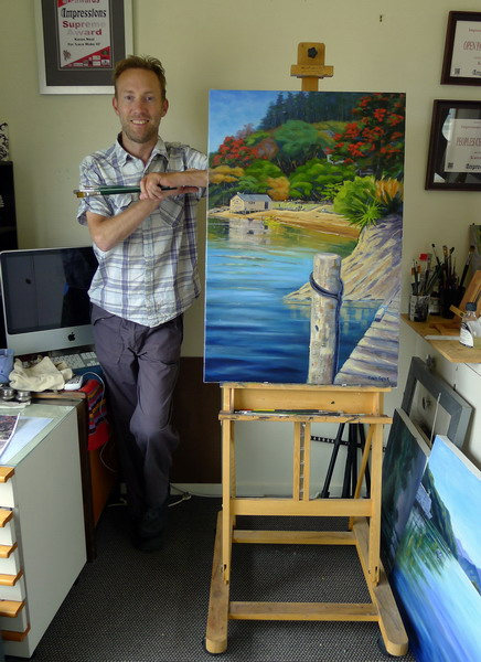Rarangi studio beside Lochmara painting
