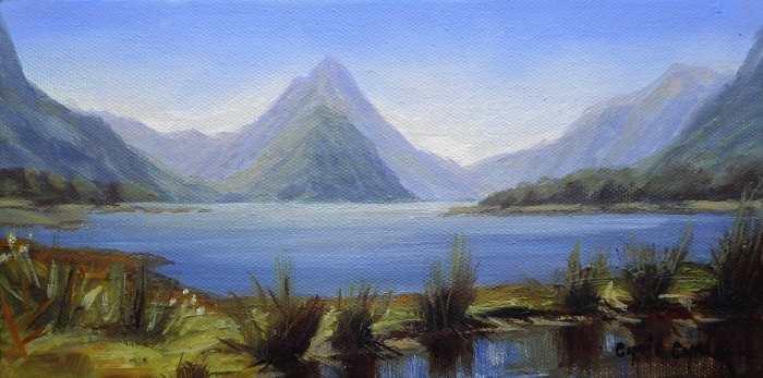 Painting of Mount Cook and Southern Alps in New Zealand