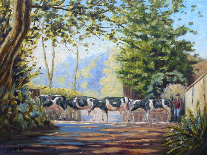 moove along cow painting
