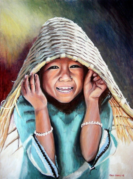 painting of a Nepalese girl with a beautiful smile
