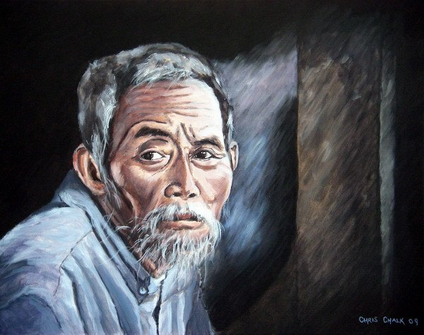 oil painting portrait of a old Vietnamese man