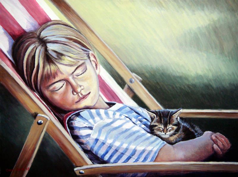 Cat and girl painting