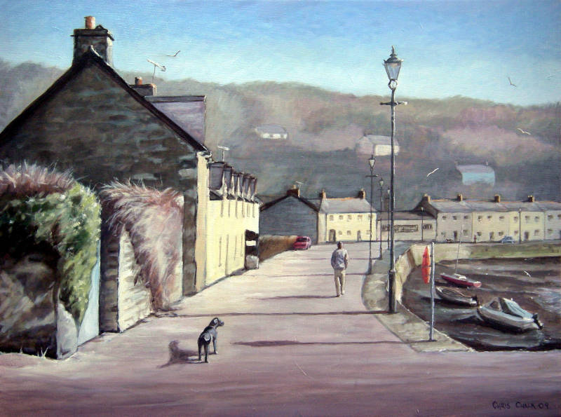 Fishguard lower harbour painting