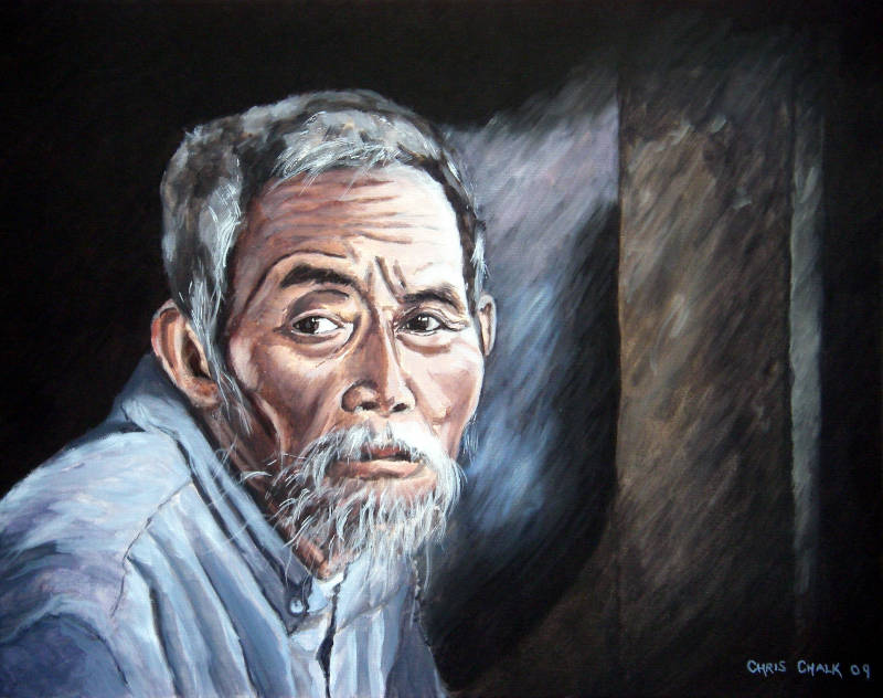 Old man painting
