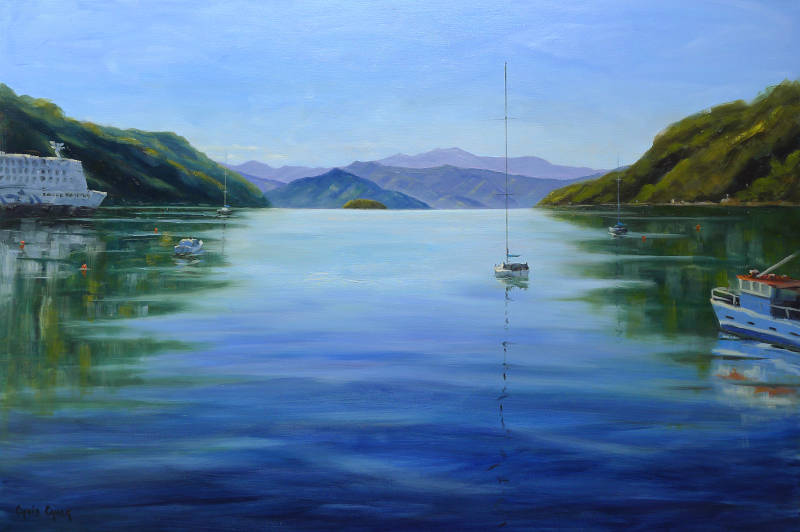Picton Ferry and harbour painting