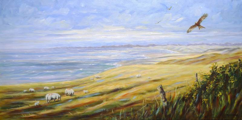Red kites over Wales painting