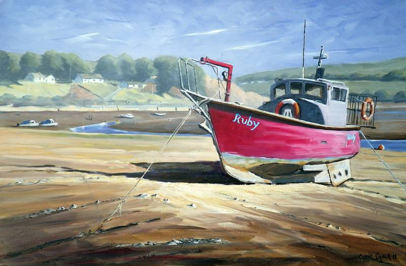 Ruby red boat painting
