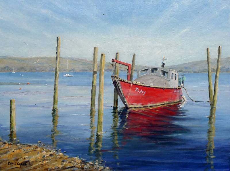 Red fishing boat painting