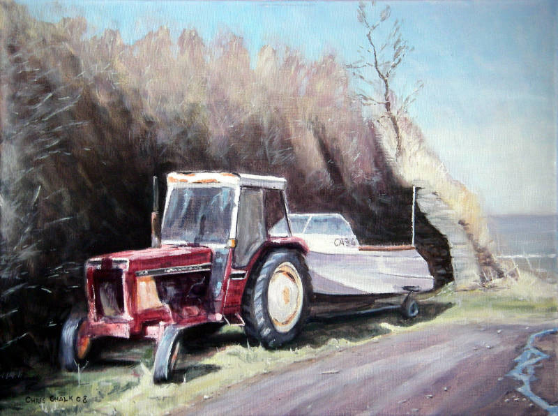 Ceibwr Bay tractor painting