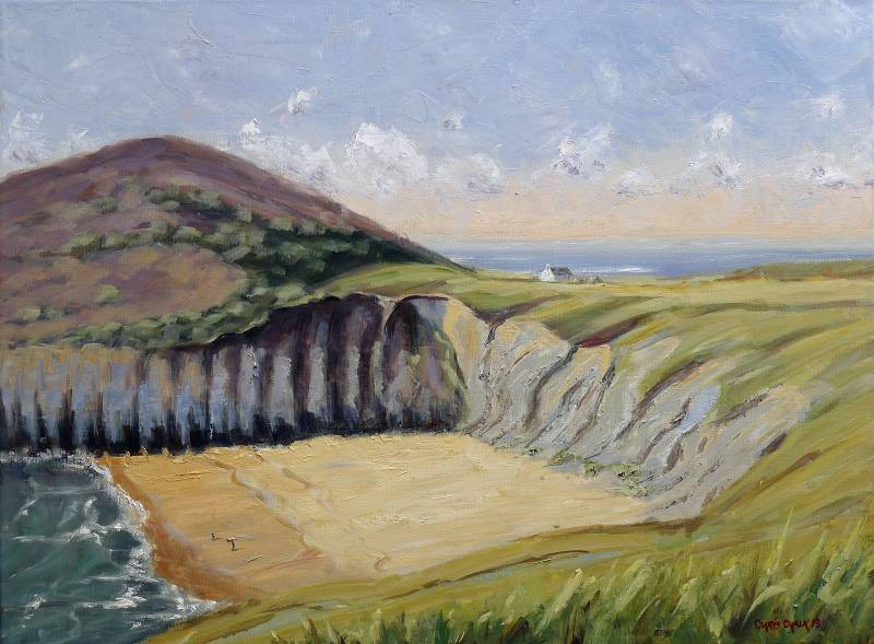 Mwnt in Wales painting