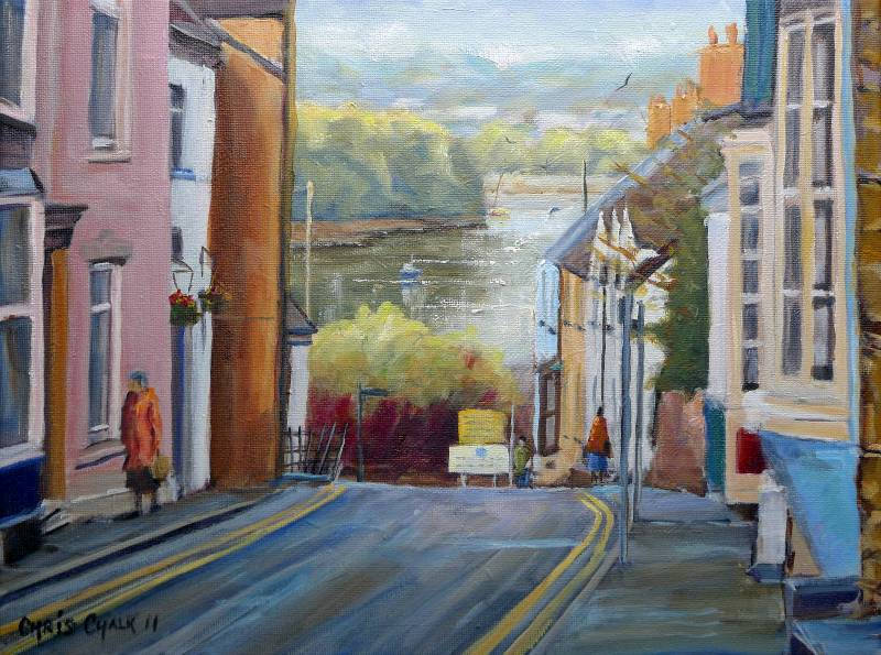 Painting of Quay Street, Cardigan