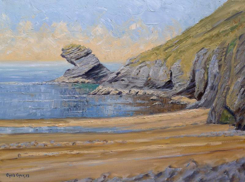 Painting of Llangrannog and Carreg Bica