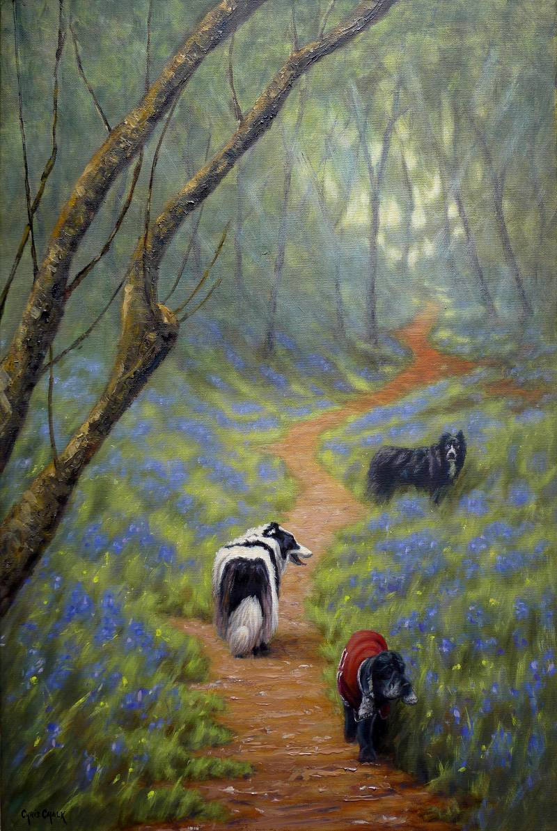Collie dog and Cocker Spaniel painting