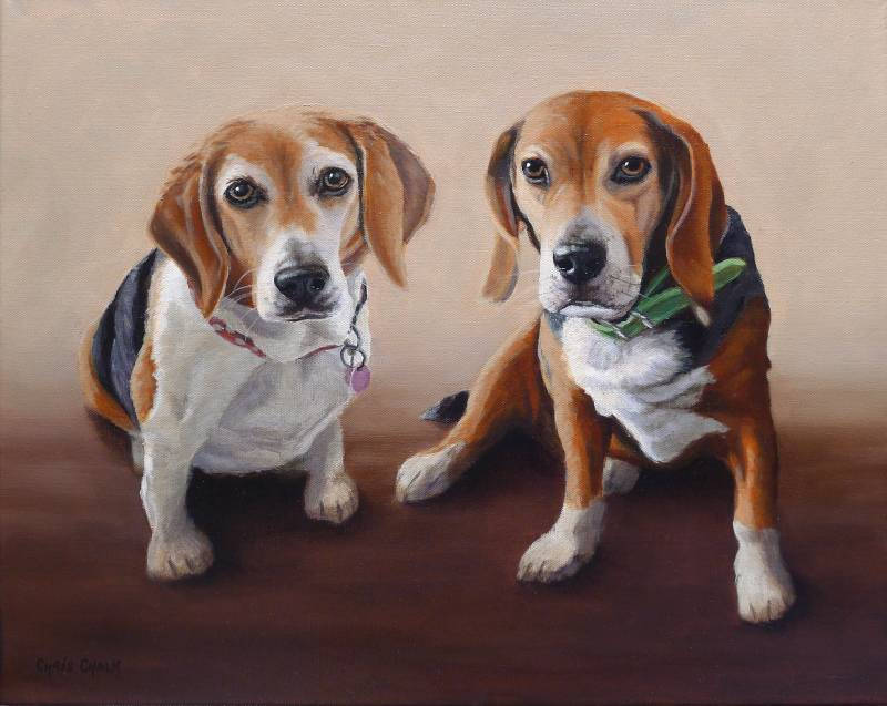 Pet portrait painting of two beagles