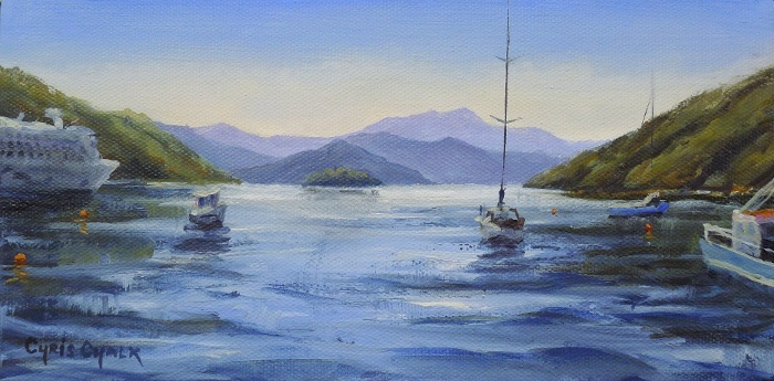 Painting of Picton Harbour in New Zealand