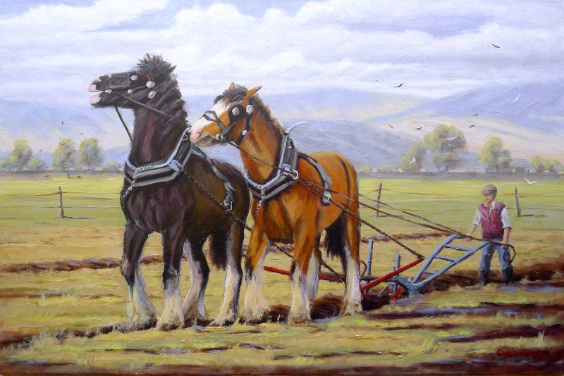Plough Horses Oil Painting