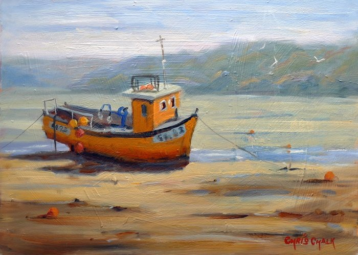 Welsh Fishing Boat Painting
