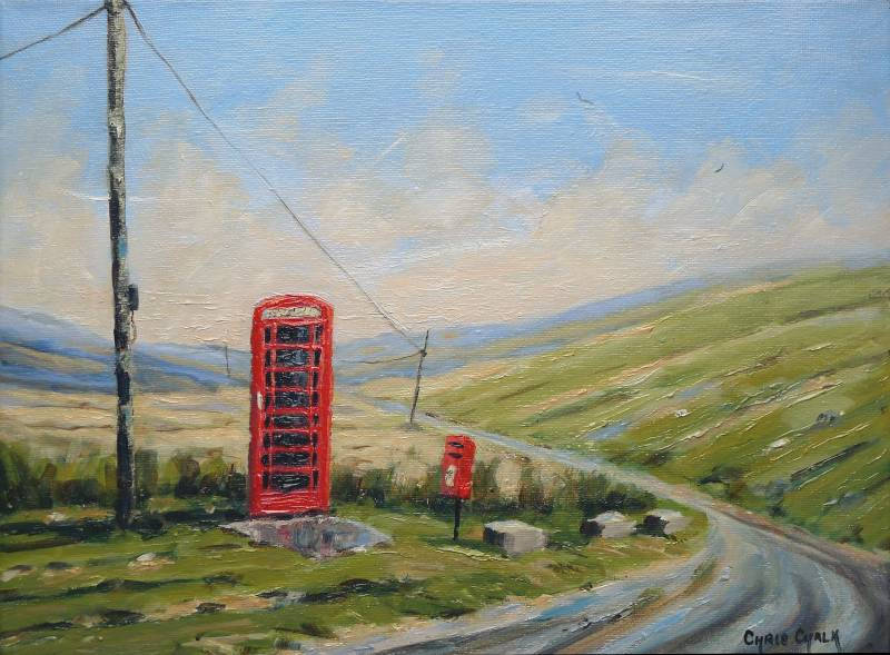 Painting of a uk British Red Phone Box