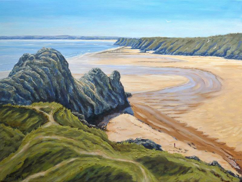 Three Cliffs Bay Print