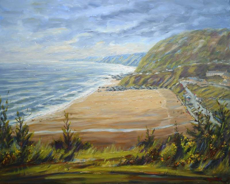 Painting of Tresaith Beach in Wales