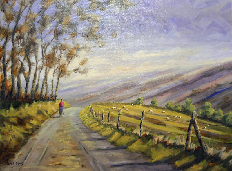 Welsh Art 'Afternoon Stroll' Oil Painting
