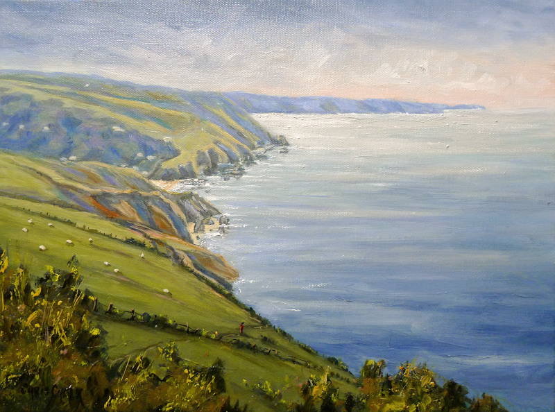 Painting of Llangrannog in West Wales