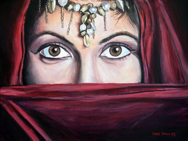 oil painting of a Bedouin woman with beautiful eyes