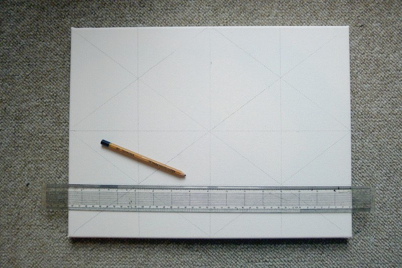 drawing lines on a art canvas for a painting