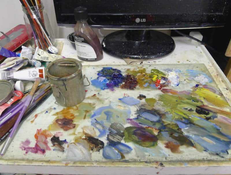 Dirty painting palette