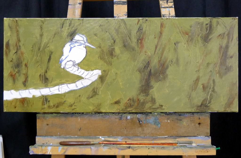 kingfisher painting in oils stage one