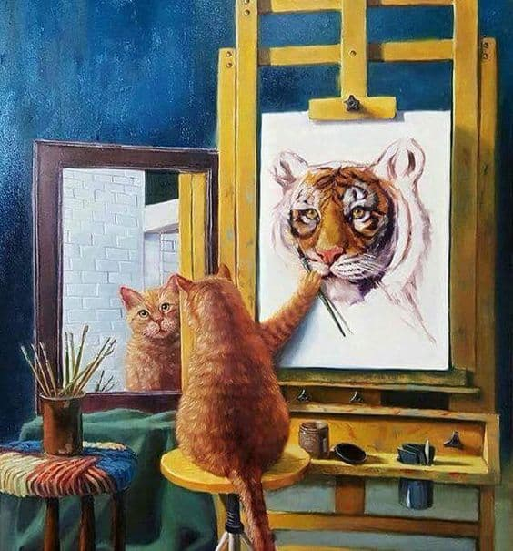 cat self portrait painting meme