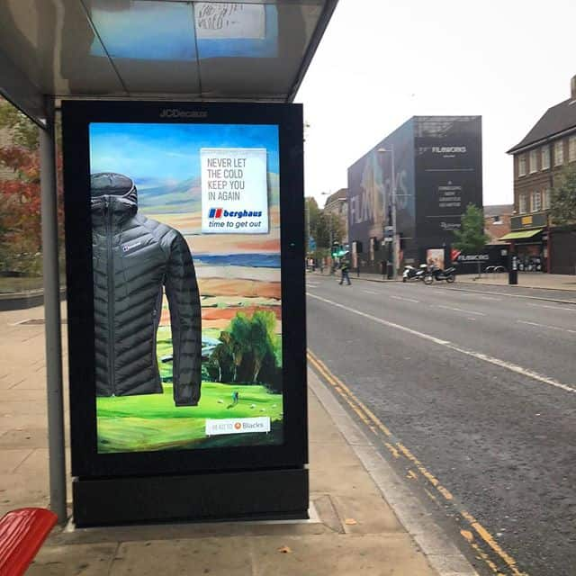Berghaus time to get out bus stop artwork