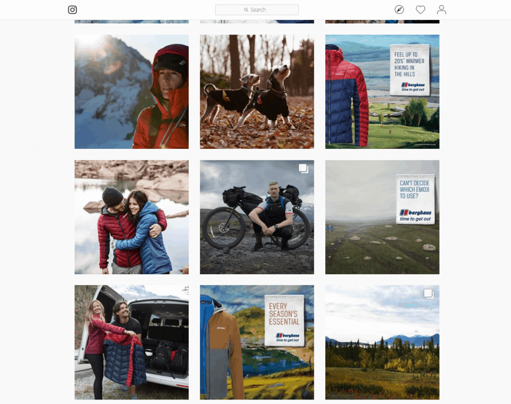 Berghaus clothing company on Instagram