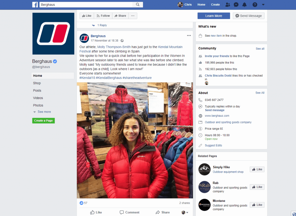 Berghaus artwork on Facebook