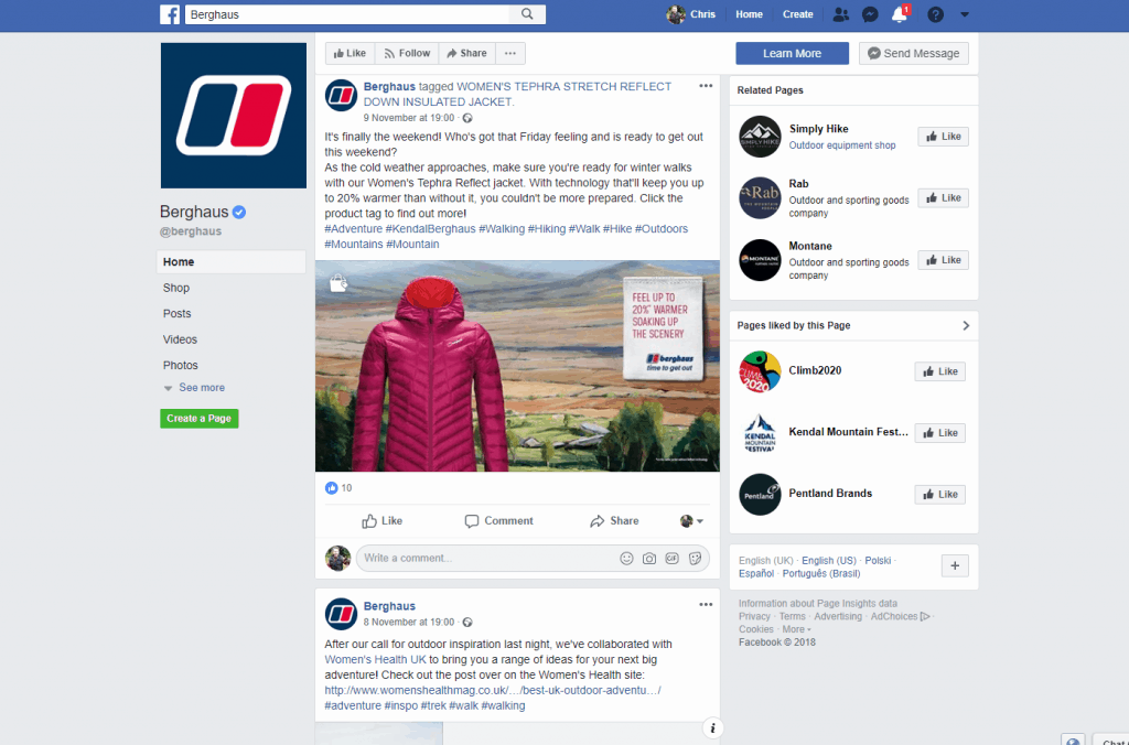 Berghaus on Facebook