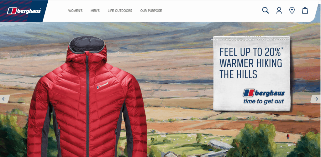 Berghaus women's clothing website artwork