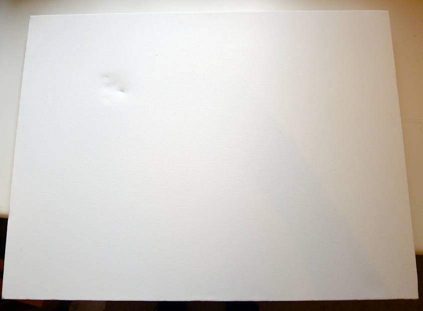 Dented canvas painting