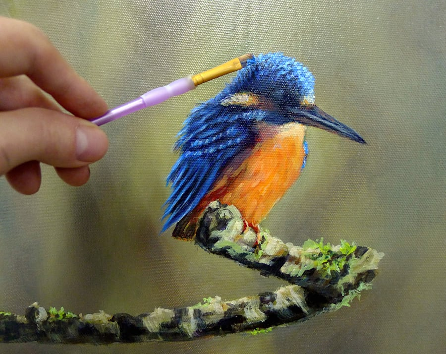 Kingfisher painting detail